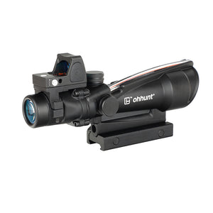 ohhunt® ACOG Style 3.5X35 Scope Real Optic Fiber Scope With Red Dot Red or Green Illuminated Tactical Rifle Scope