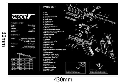 Ohhunt Armorers Bench Mat Gun Cleaning Mat GLOCK Parts Diagram & Instructions Gun Split Picture