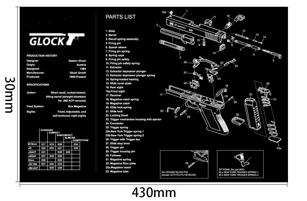 Ohhunt Armorers Bench Mat Gun Cleaning Mat GLOCK Parts Diagram & Instructions Split Picture