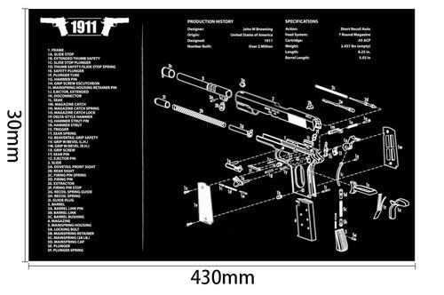 Ohhunt Armorers Bench Mat Gun Cleaning Mat 1911 Parts Diagram & Instructions Gun Split Picture
