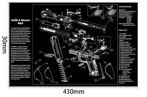 Ohhunt Armorers Bench Mat Gun Cleaning Mat M&P Parts Diagram & Instructions Gun Split Picture