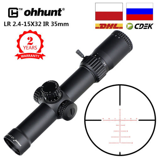 ohhunt LR 2.4-15X32 35mm Tube Compact Hunting Rifle Scopes Glass Etched Reticle Red Illuminated Sight Turrets Lock Reset Scope