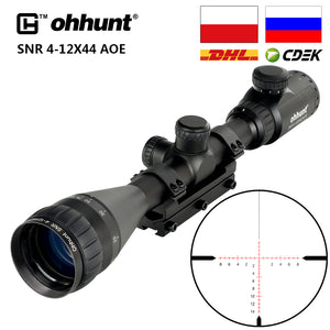 ohhunt SNR 4-12x42 AOE Hunting Riflescope Red Illuminated Glass Etched Reticle Sniper Optic Rifle Scope Sight with Ring