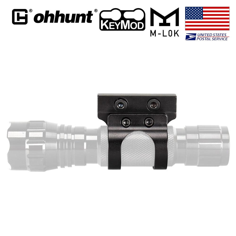 ohhunt 1 in Offset Flashlight Torch Mount Fit Both M-lok & Keymod Rails 25.4mm Diameter Rings Barrel