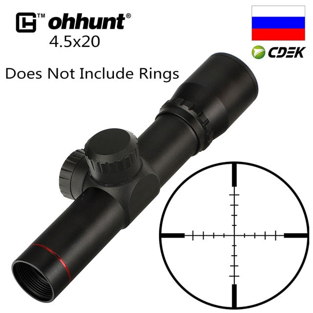 ohhunt 4.5x20 1 inch Compact Hunting Rifle Scope Tactical Optical Sight P4 Glass Etched Reticle Flip-open Lens Caps