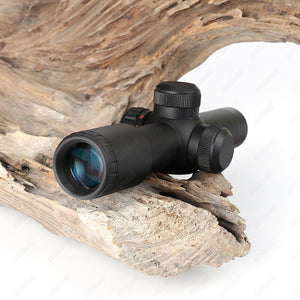 ohhunt 4.5x20E Compact Hunting Rifle Scope Red Illuminated Glass Etched Reticle With Flip-open Lens Caps and Rings