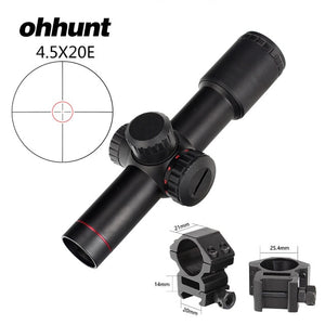 ohhunt 4.5x20E Compact Hunting Rifle Scope Red Illuminated Glass Etched Reticle Riflescope With Flip-open Lens Caps and Rings