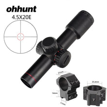 Load image into Gallery viewer, ohhunt 4.5x20E Compact Hunting Rifle Scope Red Illuminated Glass Etched Reticle Riflescope With Flip-open Lens Caps and Rings