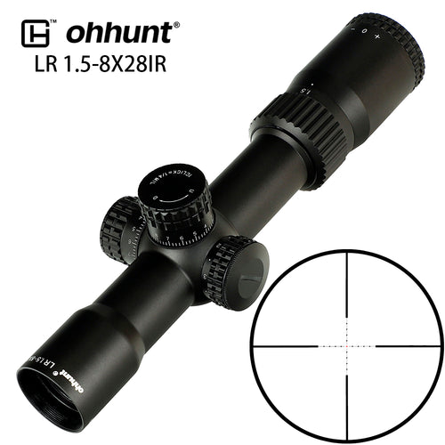 ohhunt LR 1.5-8X28 Compact Hunting Scope Mil Dot Glass Etched Reticle Red Illumination Turrets Lock Reset