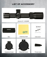 Load image into Gallery viewer, ohhunt LR 1.5-8X28 IR Compact Hunting Scope Mil Dot Glass Etched Reticle Red Illumination Turrets Lock Reset Tactical Riflescope