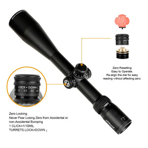 ohhunt Guardian 6-24X50 SF Hunting Rifle Scopes Side Parallax 1/2 Half Mil Dot Glass Etched Reticle Turrets Lock Reset Scope