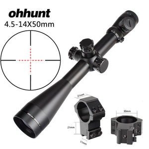 ohhunt 4.5-14X50 Hunting Rifle Scope Riflescope Side Parallax Adjustment Glass Etched Mil Dot Reticle Illuminated Tactical Sight
