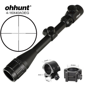 ohhunt 4-16X40 AO Hunting Riflescopes 1 inch Tube Mil Dot Reticle Red Green Illuminated Optical Sight Rifle Scope