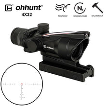 Load image into Gallery viewer, ohhunt ACOG Style 4x32 Hunting Rifle Scopes Red or Green Glass Etched Reticle Real Fiber Optics Tactical Sights Rifle Scope
