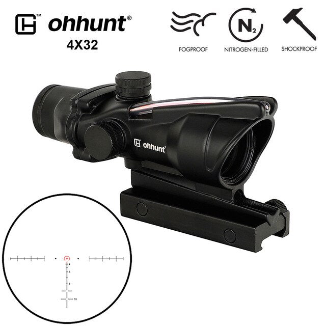 ohhunt® 4x32 Hunting Rifle Scopes Real Fiber Optics Red or Green Glass Etched Reticle Tactical Sights Rifle Scope Free Shipping