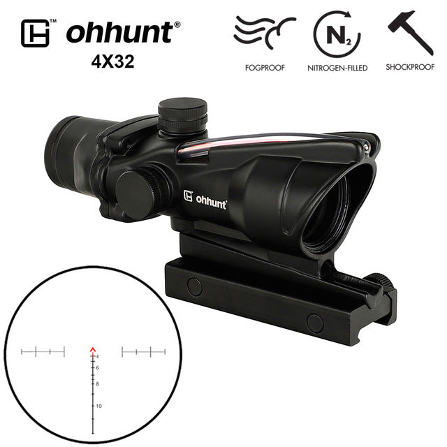 ohhunt ACOG Style 4x32 Hunting Rifle Scopes Red or Green Glass Etched Reticle Real Fiber Optics Tactical Sights Rifle Scope