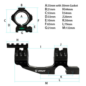 ohhunt 30mm 35mm Integral Hunting Scope Mount Rings Picatinny Rail with Bubble Level and Can Removed Top Two Rail