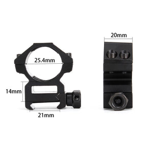 "ohhunt 25.4mm 1"" 2PCs Medium Profile Picatinny Weaver Rings 20mm Rifle Scope Mount Rings Hunting Tactical Accessories"