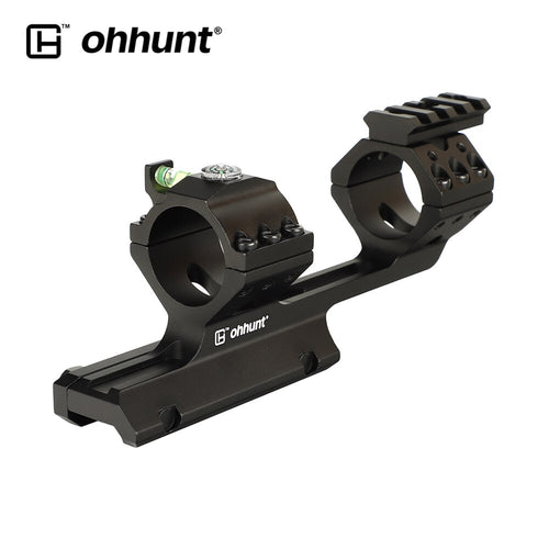 ohhunt Rock-Solid Bi-direction 25.4mm 30mm Offset Hunting Rifle Scopes Mount Rings Top with Bubble Level Compass Picatinny Rail