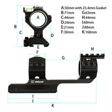 Load image into Gallery viewer, ohhunt Rock-Solid Bi-direction 25.4mm 30mm Offset Hunting Rifle Scopes Mount Rings Top with Bubble Level Compass Picatinny Rail