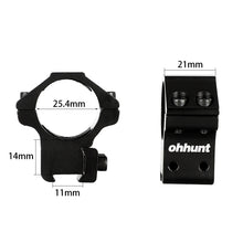 "Load image into Gallery viewer, ohhunt 25.4mm 1"" 2PCs Med Profile Airgun Rings with Stop Pin 11mm Dovetail Rifle Scope Mount Rings Hunting Tactical Accessories"