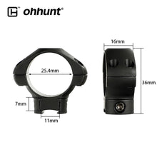 Load image into Gallery viewer, ohhunt 25.4mm or 30mm Diameter Steel Low Medium High Profile 11mm 3/8 Dovetail .22 Airgun Hunting Rifle Scope Rings Mount