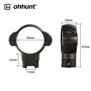 ohhunt 25.4mm or 30mm Diameter Steel Low Medium High Profile 11mm 3/8 Dovetail .22 Airgun Hunting Rifle Scope Rings Mount