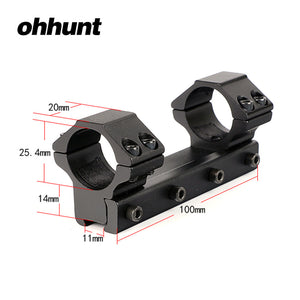 ohhunt 10cm Medium Profile 11mm Dovetail .22 Airgun 25.4mm 1 inch Scope Rings with Stop Pin For Hunting Rifle Scope Mount