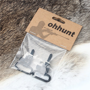 ohhunt 2Pcs 1 or 1.25 inch Tactical Military QD Quick Detachable Black Super Sling Swivel Mount Set for Hunting Rifle Shot*gun