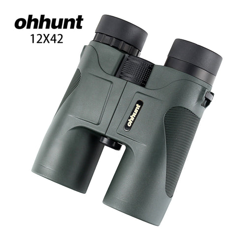 ohhunt 12X42 Hunting Binoculars Waterproof Fogproof Telescope Powerful Bright Optics Scope Camping Hiking Binocular Dark Green