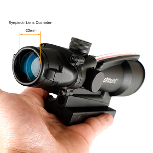 ohhunt 5X35 ACOG Style Three Model Reticle Red or Green Illuminated Tactical Rifle Scope with Red Dot for cal .223 .308