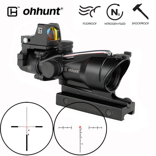 ohhunt ACOG Style 4X32 Rifle Scope Real Fiber Red Green Illuminated Scope with Red Dot Sight for cal .223 .308 Rifle