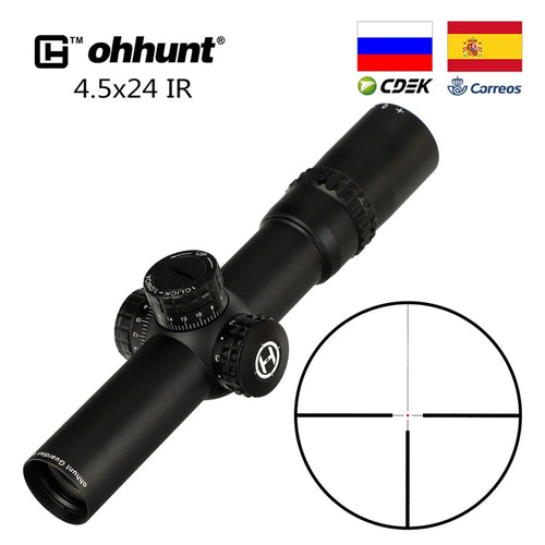 Tactical ohhunt Guardian 4.5x24 IR Hunting Rifle Scope 1/2 Half Mil Dot Reticle 30mm Tube Optics Sight Turrets Reset Riflescope