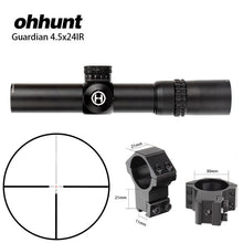 Load image into Gallery viewer, Tactical ohhunt Guardian 4.5x24 Hunting Rifle Scope 1/2 Half Mil Dot Reticle 30mm Tube Optics Sight Turrets Reset Rifle Scope