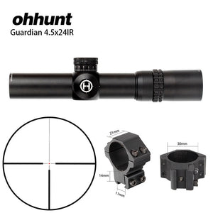 Tactical ohhunt Guardian 4.5x24 Hunting Rifle Scope 1/2 Half Mil Dot Reticle 30mm Tube Optics Sight Turrets Reset Rifle Scope