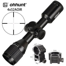 Load image into Gallery viewer, ohhunt 4x32 AOIR Mini Mil-Dot Compact Scope Double Color Illuminated Glass Etched Reticle Hunting Tactical Optical Sight Rifle Scope