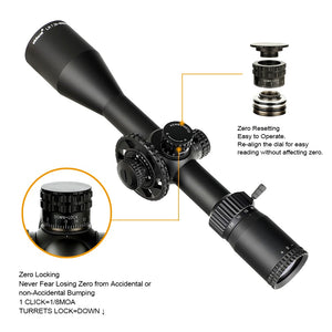 ohhunt LR 7.25-40X50 SFIR Red Illumination Hunting Riflescope Glass Etched Reticle Side Parallax Turret Lock Reset