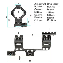 Load image into Gallery viewer, ohhunt 30mm 35mm Mounting Ring One Piece Bi-direction Picatinny Rail Scope Mount With Top Free Float Rail