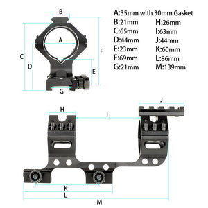 ohhunt 30mm 35mm Mounting Ring One Piece Bi-direction Picatinny Rail Scope Mount With Top Free Float Rail
