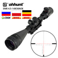 ohhunt 4.5-14x50 AOE Tactical Scope Red Special Cross Glass Etched Reticle with One Piece 11mm or 20mm Rings for Rifle Sights