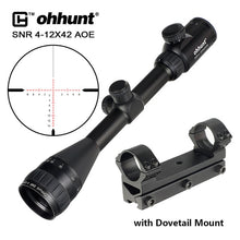 Load image into Gallery viewer, ohhunt 4-12x42 AOE Tactical Riflescope Red Green Cross Glass Etched Reticle with One Piece Mount for Hunting Rifle Scope Sights