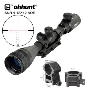 ohhunt 4-12x42 AOE Tactical Riflescope Red Green Cross Glass Etched Reticle with One Piece Mount for Hunting Rifle Scope Sights
