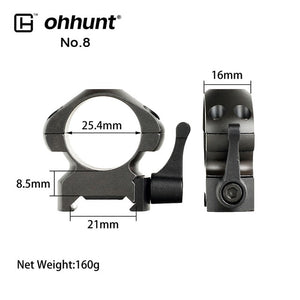 ohhunt 2PCs Tactical Steel Rings 1 inch 30mm Dovetail Picatinny Rail Low High Medium Profile Scope Mount for Hunting Riflescope