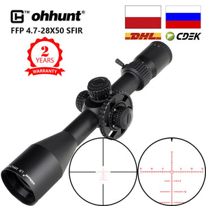 ohhunt LR FFP 4.7-28X50 SFIR First Focal Plane Hunting Riflescope Side Parallax Glass Etched Reticle Lock Reset Scope