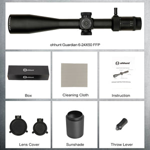 ohhunt Guardian 6-24X50 FFP First Focal Plane Hunting Riflescope Side Parallax Glass Etched Reticle Lock Reset Tactical Scope