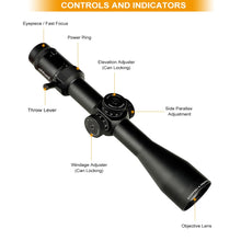 Load image into Gallery viewer, ohhunt Guardian 4-16X44 FFP First Focal Plane Hunting Riflescope Side Parallax Glass Etched Reticle Lock Reset Tactical Scope