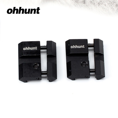 ohhunt Hunting 2pcs Low 11mm Dovetail Airgun to 20mm Picatinny Weaver Rail Snap-in Adaptor For Scope Rings Mount With Stop Pin