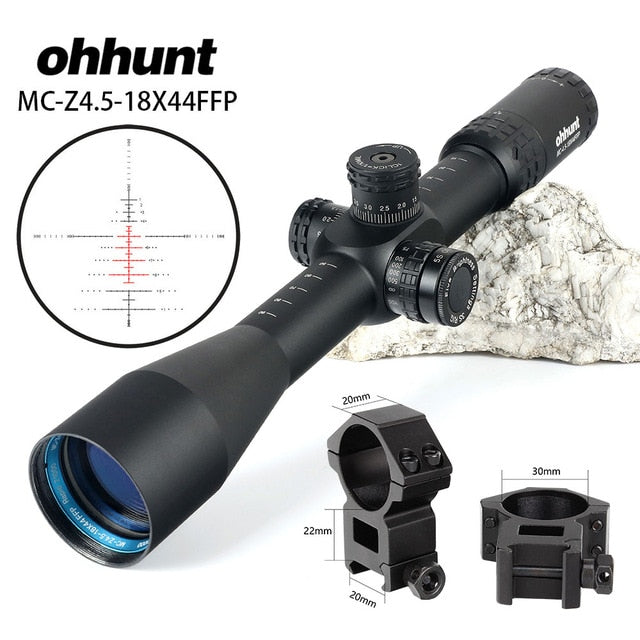 ohhunt MC-Z 4.5-18X44 FFP First Focal Plane Hunting Optical Riflescope Side Parallax Z1000 Glass Etched Reticle Lock Reset Scope