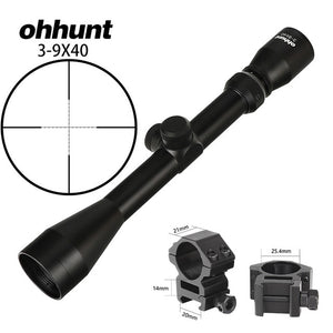 ohhunt 3-9X40 Hunting Optics Riflescopes Rangefinder or Mil Dot Reticle Crossbow Shooting Tactical Rifle Scope with Mount Rings