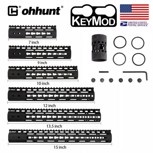 ohhunt Slim Style AR15 Free Float Keymod Handguard with Steel Barrel Nut